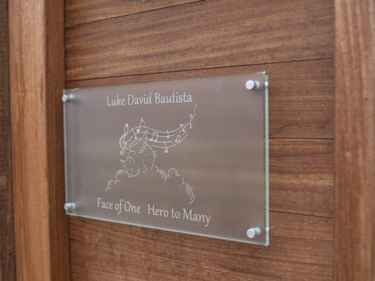 A plaque honoring organ donor Luke Bautista at the NJ Sharing Network in New Providence. Family and friends have raised $86,000 for the network in Luke's name.