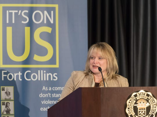 """Colorado Attorney General Cynthia Coffman delivers the keynote address to the """"Its On Us Summit - Fort Collins"""" at Colorado State University on Monday, April 10, 2017."""