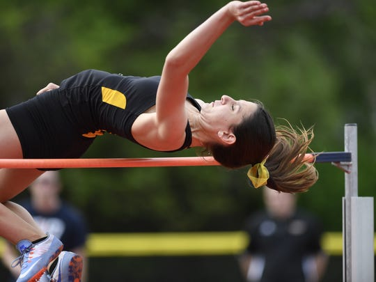 """Cresskill's Iveya Slavova wins girls' high jump clearing a height of 5' 4"""" during the NJIC Track and Field championships in Emerson, NJ on Monday, May 1, 2017."""