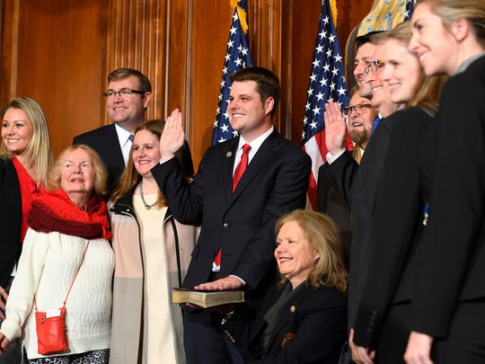 Rep. Matt Gaetz, R-Fla., stands with House Speaker Paul Ryan, R-Wis., for a ceremonial swearing-in during the opening session of the 115th Congress on Jan. 3, 2017, on Capitol Hill.