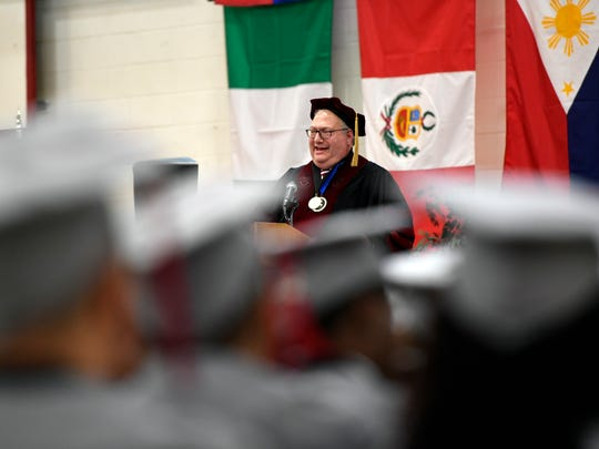 Passaic County Community College President Steven Rose welcomes the approximately 11,060 graduates to the 45th annual commencement on Thursday, May 18, 2017.