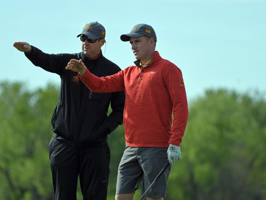 Iowa State coach Andrew Tank and former Cyclone golfer Nick Voke.