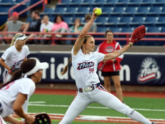 Jolene Henderson pitches for the USSSA Pride during