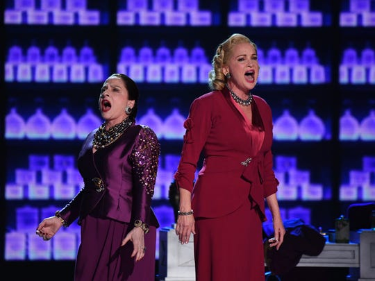 Patti LuPone (L) and Christine Ebersole perform a song from War Paint.