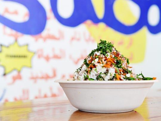 Baba Nahm's fattoush and tabouleh salad.