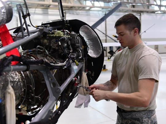 Staff Sgt. Joshua, the 432nd Aircraft Maintenance Squadron MQ-9 Reaper crew chief, uses an engine trainer to refresh his skills June 19, 2017, at Creech Air Force Base, Nev. The engine trainer can be programmed to display certain errors which maintainers must correct.