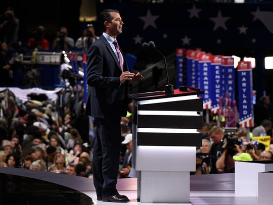Donald Trump Jr. speaks during the Republican National