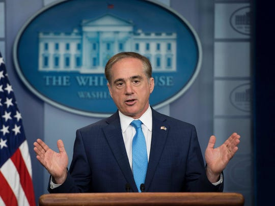 Secretary of Veterans Affairs David Shulkin speaks during a White House press briefing in May.
