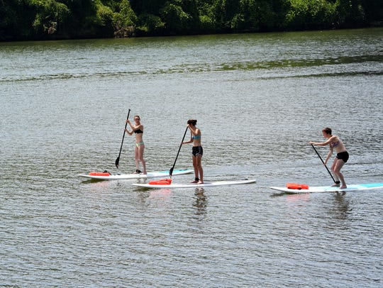 Paddle boarding at Volunteer Landing along Knoxville's
