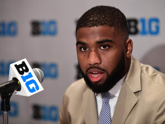 Ohio State fifth-year linebacker Chris Worley answers questions at Big Ten Media Days in Chicago.