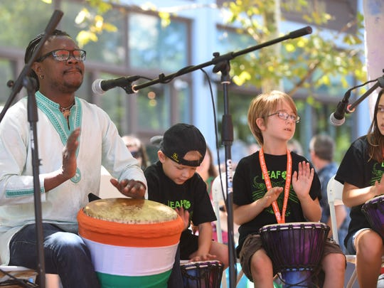 Students participating in the second week of camp will LEAF's camp perform on the community stage during LEAF Downtown.