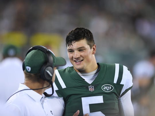 Jets vs Titans pre-season game at MetLife Stadium in East Rutherford on Saturday, August 12, 2017. Jets #5 Christian Hackenberg in the second quarter.