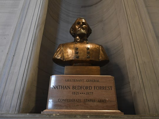 The bust of KKK leader and Confederate Gen. Nathan Bedford Forrest in the Tennessee state Capitol.