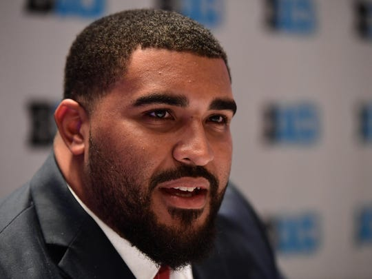 Rutgers left guard Dorian Miller (file) was named a 2017 captain by his teammates Wednesday night