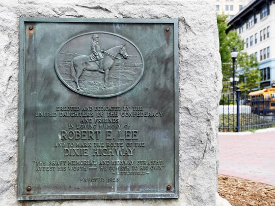 A Robert E. Lee memorial at the base of Vance Monument