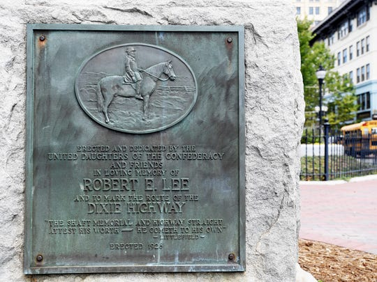 A Robert E. Lee memorial at the base of Vance Monument in Pack Square on August 16, 2017.