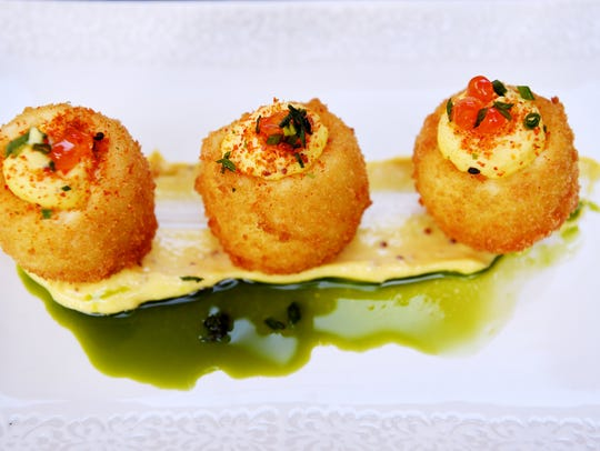 Jargon's deep fried deviled eggs with Lusty Monk mustard