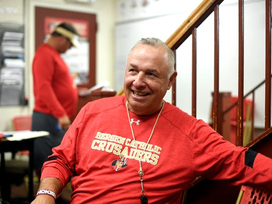 Bergen Catholic football assistant coach Greg Toal, former head coach at Don Bosco Prep, lounges during a coaches meeting before practice on Tuesday, August 22, 2017. Crusader head coach Nunzio Campanile was Toal's offensive coordinator from 2000-2009.