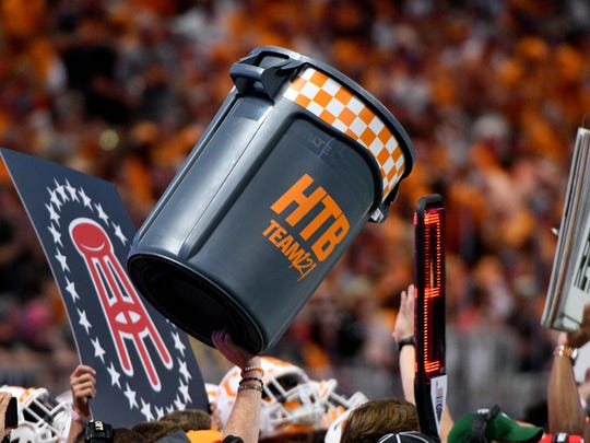 Tennessee trashcan on the sidelines during first half at the Chick-fil-A Kickoff Game Monday, Sep. 4, 2017 against Georgia Tech in Atlanta, Ga.