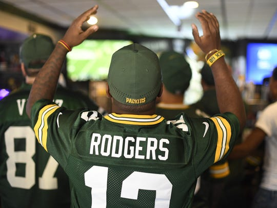 Harold Arango of Newark reacts as the Green Bay Packers play their season opener against the Seattle Seahawks on Sunday, September 10, 2017. Arango and other fans watched the game at Blue 42 in Elmwood Park, NJ, which caters to Packers fans.