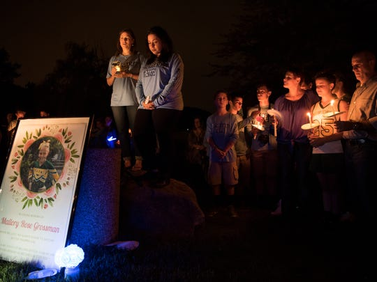 Hundreds attended the vigil Thursday night to remember Mallory Grossman, who was recalled as sweet and funny. Mallory, 12, died by suicide in June.