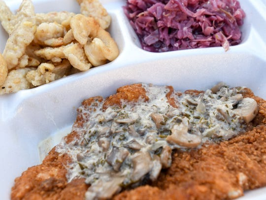 Schnitzel, spatzel, and rot kohl from The Lubecker
