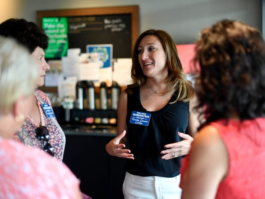 Wyckoff Township Committee candidates Melissa Rubenstein, right, and Carla Pappalardo talk to voters in the Wyckoff Starbucks on Sept. 19. Rubenstein and Pappalardo are running with Brian Scanlan for election on Nov. 7.