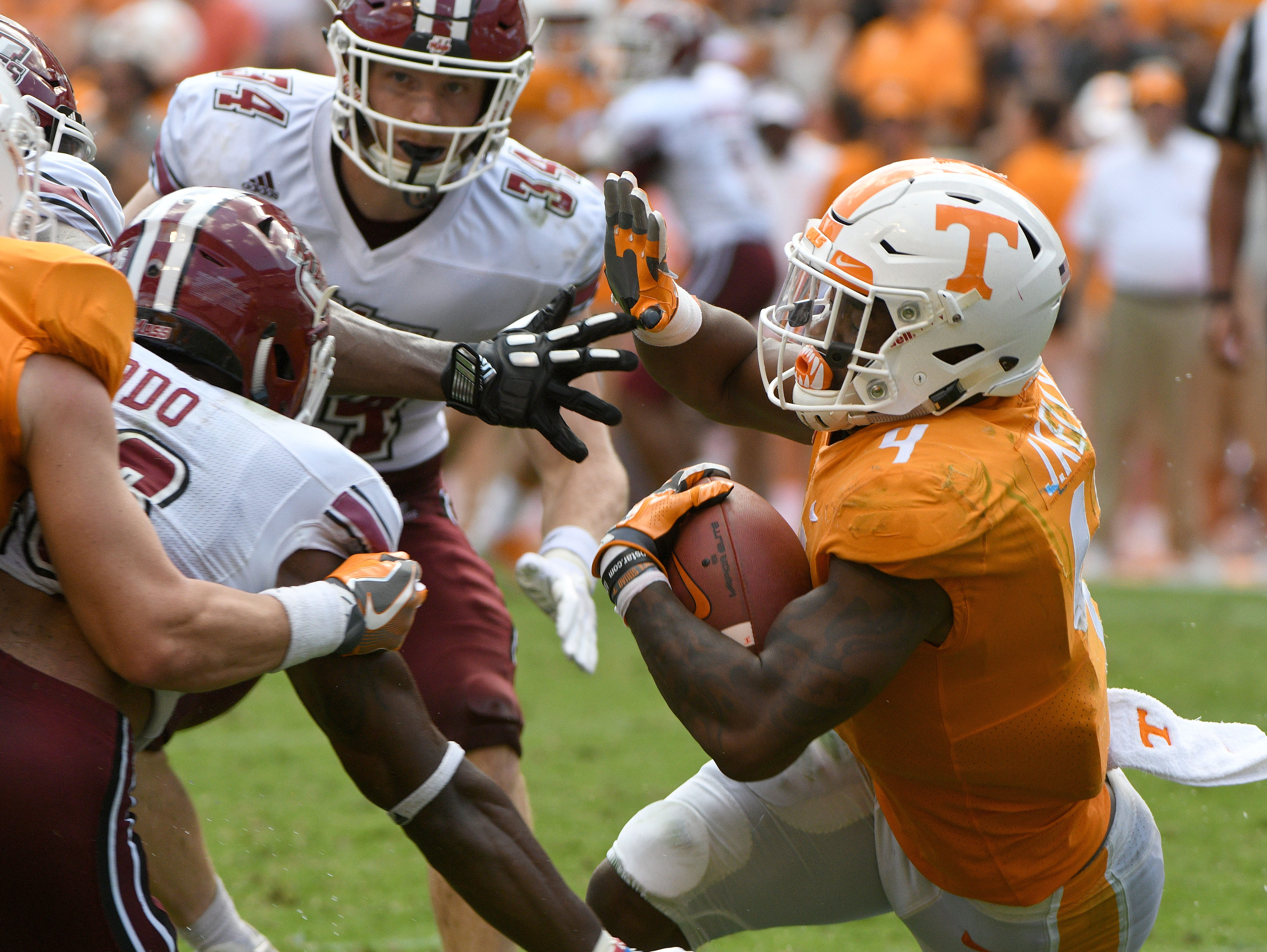 Tennessee running back John Kelly (4) during the second half of their 17-13 win over UMass Minutemen Saturday, Sep. 23, 2017 at Neyland Stadium in Knoxville, Tenn.