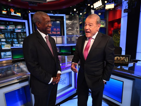 Fox Business Network president Brian Jones, at left, with Stuart Varney of 'Varney & Co.' Fox Business Network touts how over the last year it has overtaken CNBC as the most watched business network. As its 10th anniversary hits this month, we look at how the network got there.