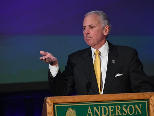 State Gov. Henry McMaster speaks during an announcement of Arthrex at the Civic Center of Anderson on Monday.