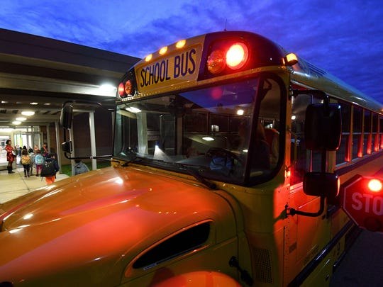 Knox County school buses unloading students at Cedar Bluff Elementary School Monday, Oct. 16, 2017.