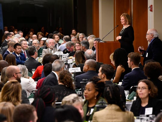 MSU Provost June Pierce Youatt addresses guests at at James Madison college's 50th anniversary dinner Saturday, Oct. 14, 2017.