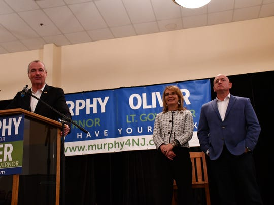 Democractic gubernatorial candidate Phil Murphy at a rally. Congresswoman Gabby Giffords and her husband Mark Kelly stumped for Murphy and advocated for gun control.