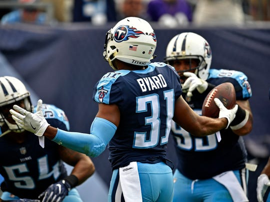 Titans safety Kevin Byard (31) celebrates an interception during the first half at Nissan Stadium Sunday, Nov. 5, 2017 in Nashville, Tenn.
