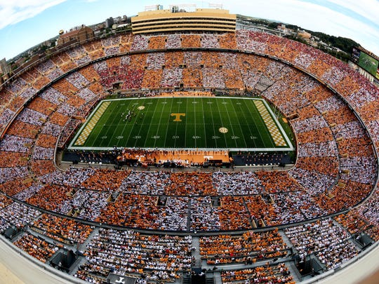 A checkered pattern colors Neyland Stadium during the