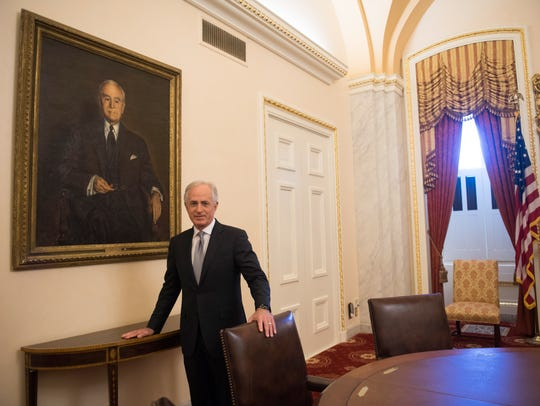 Sen. Bob Corker stands in the ceremonial Foreign Relations