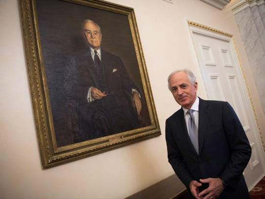 Former U.S. Sen. Bob Corker of Chattanooga is a former chairman of the U.S. Senate's foreign relations committee. He's seen here in the ceremonial Foreign Relations Committee room in the United States Capitol.