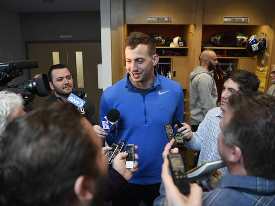 New York Giants quarterback Davis Webb talks to media as the players pack up their lockers in East Rutherford, N.J. on Monday, January 1, 2018.