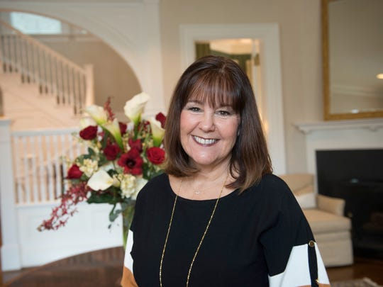 Karen Pence stands in the entry foyer of Number One Observatory Circle, the vice president's residence located on the northeast grounds of the U.S. Naval Observatory in Washington, D.C., on Jan. 10, 2018.