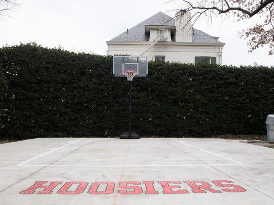 "1/10/18 12:04:15 PM -- Washington, DC  -- The half basketball court was installed primarily to have a level platform to help with catering outdoor events. But when it was done, the Pences wheeled onto it the portable basketball hoop that had been in the driveway. They also had the logo from the vice president's favorite sports movie – the story of an underdog Indiana basketball team – applied to what's now called the ""Hoosier court."" The logo, however, isn't permanent from the court at Number One Observatory Circle, the vice president's residence located on the northeast grounds of the U.S. Naval Observatory in Washington, D.C.  --    Photo by Jack Gruber, USA TODAY staff ORG XMIT:  JG 136877 Karen Pence 01/10/201 [Via MerlinFTP Drop]"