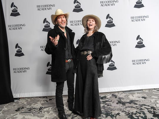 "David Rawlings and Gillian Welch walk the red carpet at Nashville's Grammy nominee party at Loews Vanderbilt Hotel in Nashville on Jan. 11, 2018. They are nominated for Best American Roots Song for ""Cumberland Gap."""