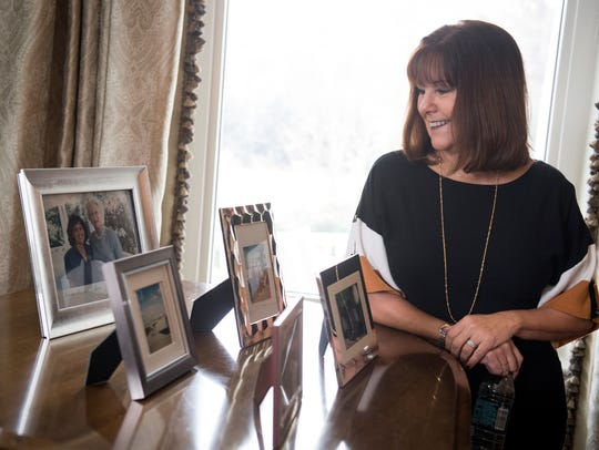 Pence's family photo's on display on the living room's