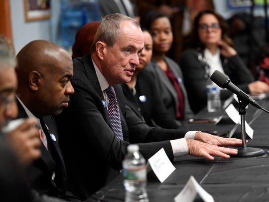 New Jersey Governor Phil Murphy sits in on a roundtable discussion on minimum wage and paid sick leave in Newark, N.J. on Wednesday, January 17, 2018.