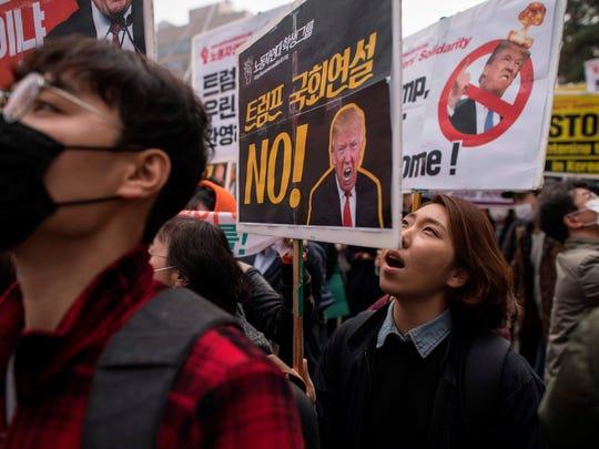 A file photo taken on Nov. 8, 2017 shows demonstrators