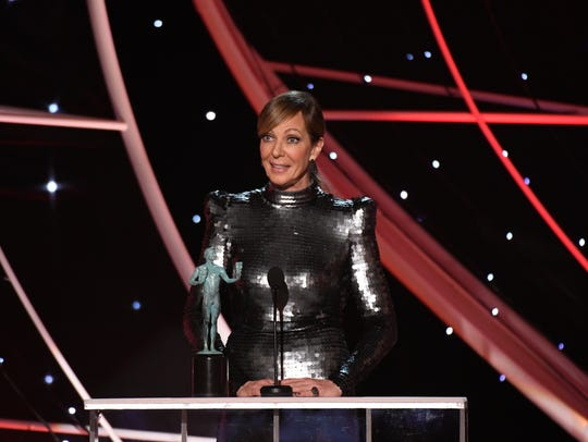 Allison Janney accepts the award for female actor in