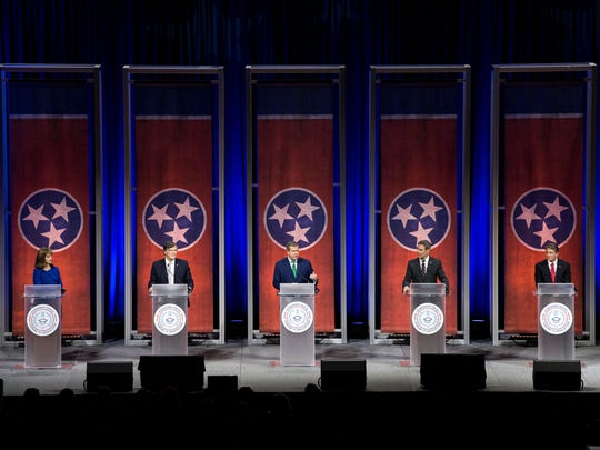 From left, Republican Beth Harwell, Democrat Craig Fitzhugh, Democrat Karl Dean, Republican Bill Lee and Republican Randy Boyd participate in the gubernatorial forum on education at Belmont University in Nashville on Tuesday, Jan. 23, 2018.
