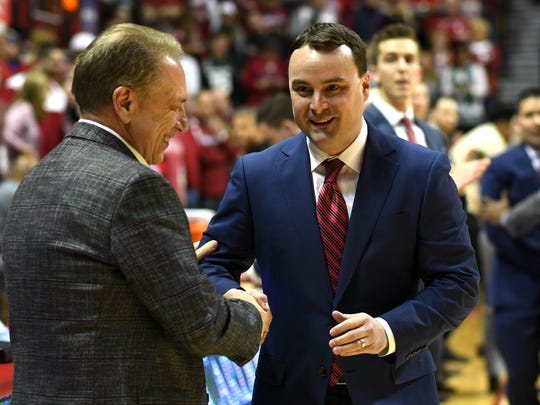Indiana Hoosiers head coach Archie Miller greets Michigan