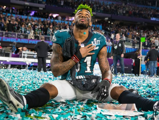 Eagles cornerback Jalen Mills looks up in the sky after the Eagles' 41-33 Super Bowl LII win over the New England Patriots.