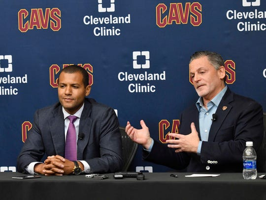 Cleveland Cavaliers general manager Koby Altman (L)