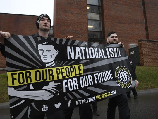 A members of the Traditionalist Worker Party after listening to Matthew Heimbach at UTK on Saturday, Feb. 17, 2018.